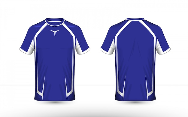 Blauw en wit lay-out e-sport t-shirt ontwerpsjabloon