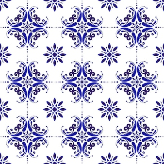 Blauw en wit naadloos patroon