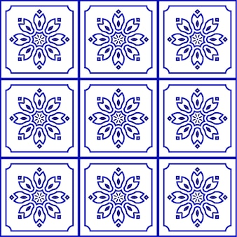 Blauw en wit naadloos tegelpatroon