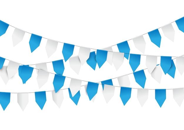 Blauw en wit papier graland vlaggen