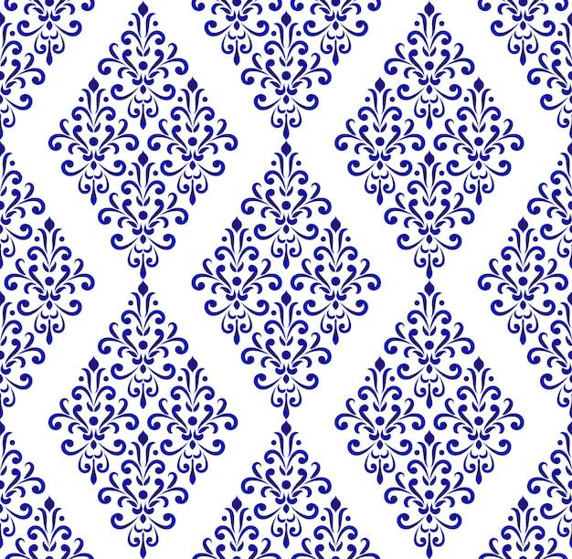Blauw en wit patroon damast stijl