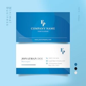 Blauw en wit slim visitekaartje