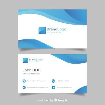 Blauw en wit visitekaartje met golven