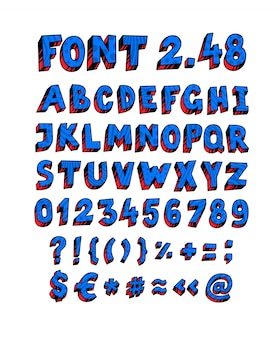 Blauw engels lettertype