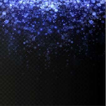 Blauw fonkelend stof met blauwe fonkelende sterren op een transparante achtergrond