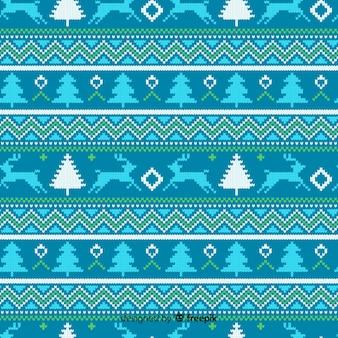 Blauw gebreid kerstpatroon