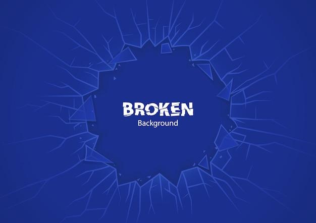 Blauw gebroken glas