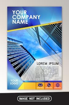 Blauw geel bedrijfsbrochure flyer ontwerp