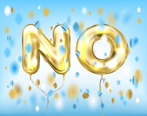 Blauw geen belettering door folie gouden ballonnen