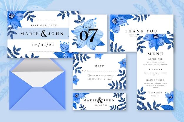 Blauw gekleurde bruiloft briefpapier