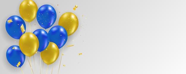 Blauw gele ballonnen gouden confetti