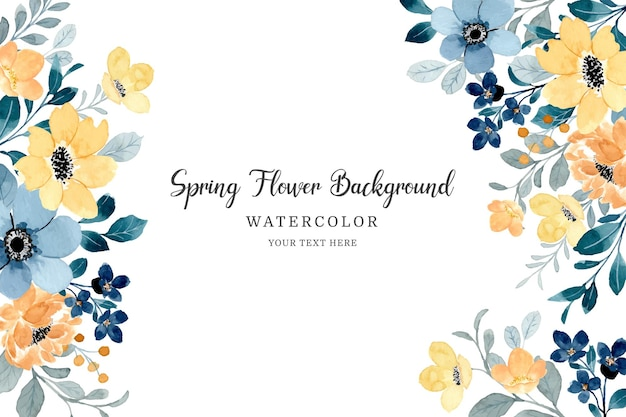 Blauw gele lente bloem achtergrond met waterverf