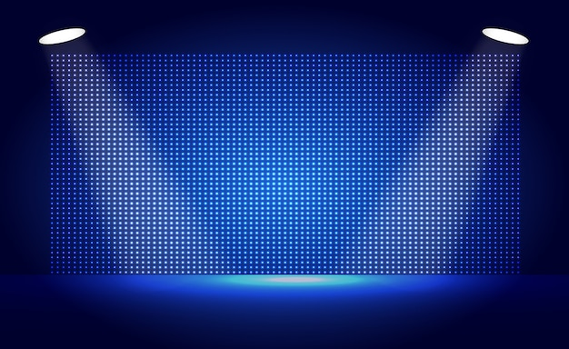 Blauw geleid bioscoopscherm en spotlicht