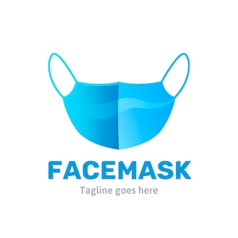 Blauw gezichtsmasker logo