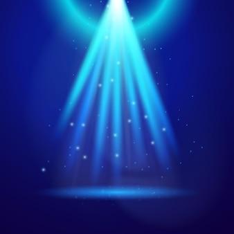 Blauw glanslicht. vectorillustratie van gloeiende sparkle element over donkere achtergrond.