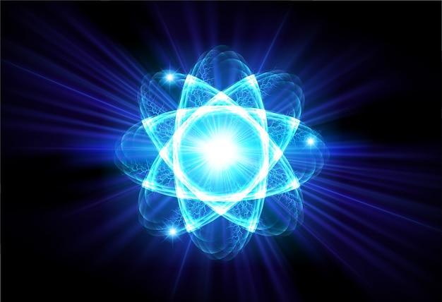 Blauw glanzend atoomschema
