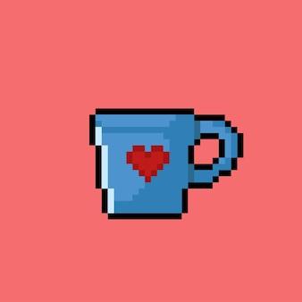 Blauw glas met liefdessticker in pixelkunststijl