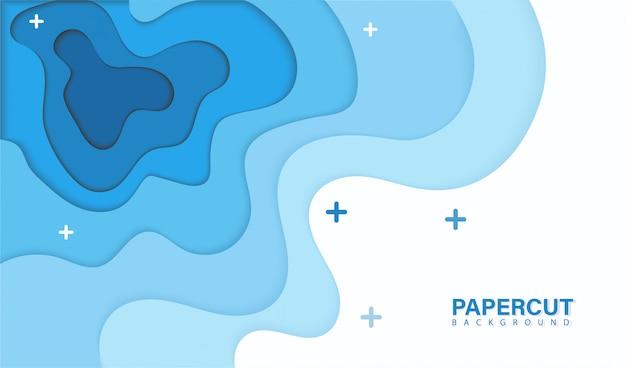 Blauw golfontwerp papercut
