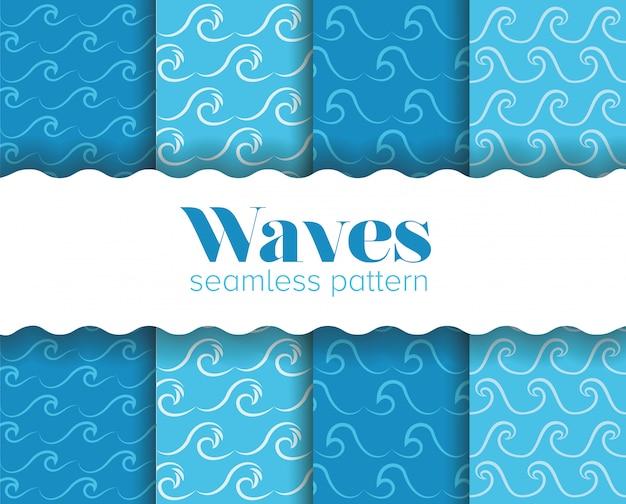 Blauw golven naadloos patroon