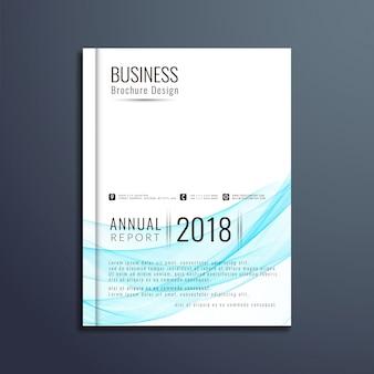 Blauw golvend business brochure ontwerp