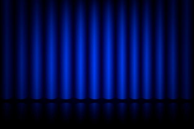 Blauw gordijn op het podium in het theater, realistische fluwelen gordijnen voor interieurdecoratie