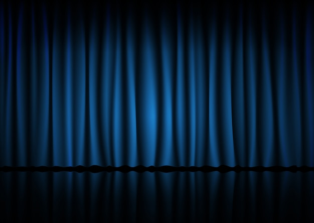 Blauw gordijn van de bioscoop, het theater of het operahuis