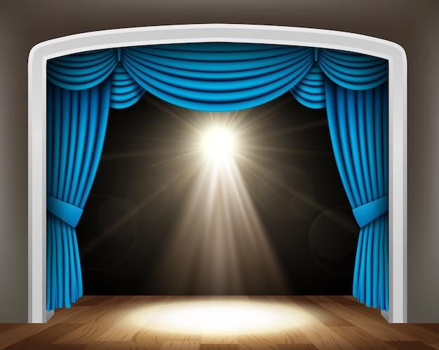 Blauw gordijn van klassiek theater