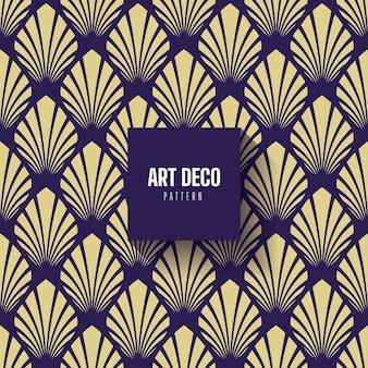 Blauw goud art deco palm patroon