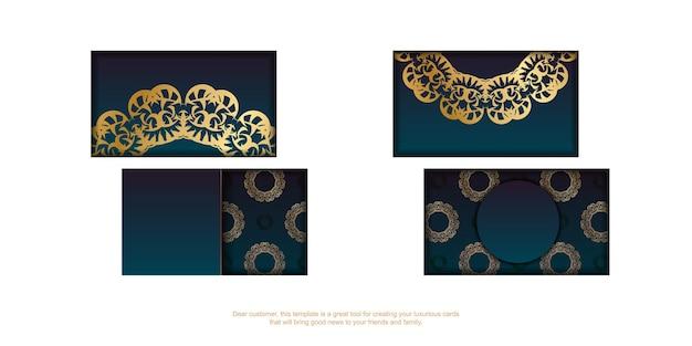 Blauw gradiëntvisitekaartje met abstract gouden ornament voor uw merk.