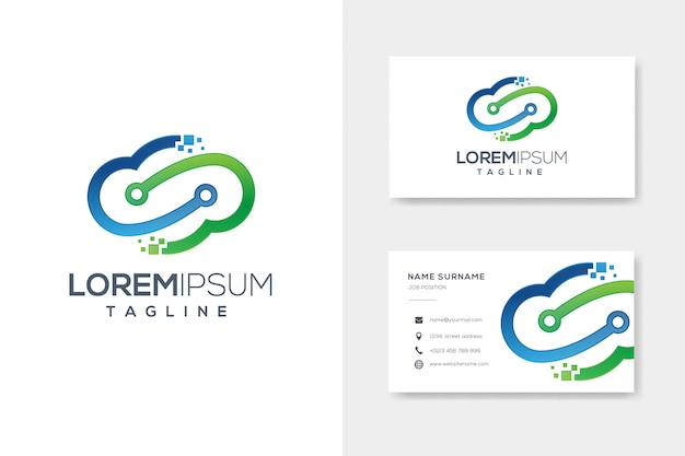 Blauw groen cloud tech-logo met visitekaartje ontwerp