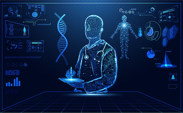Blauw helder artsenhologram