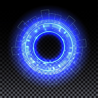 Blauw hologramportaal magische cirkel halo-effect blauwe gloed scifi teleport met vonken en hologram