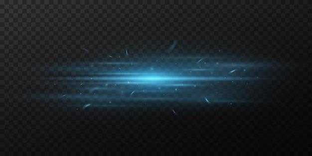 Blauw horizontaal lichteffect op een donkere transparante achtergrond. straal met vonken. heldere stralen met gloeiend stof. optische schittering. vector illustratie