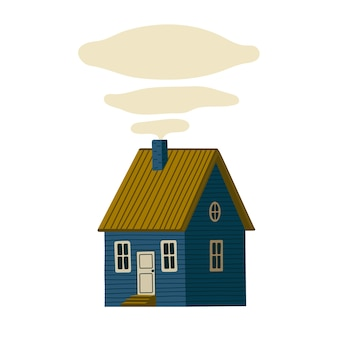 Blauw huis. houten schuur huis in rustieke stijl op groen eiland