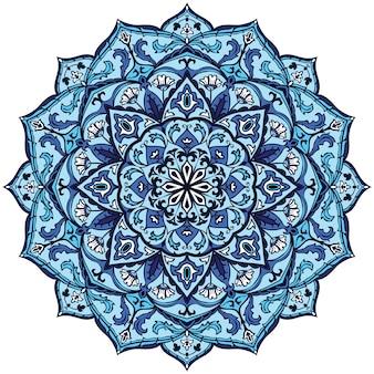 Blauw indisch mandala-ontwerp