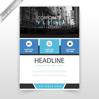 Blauw jaarlijks rapport leaflet design