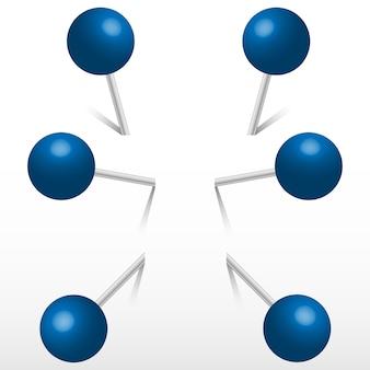Blauw kantoor rond push pins