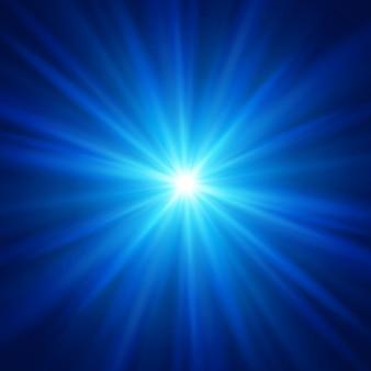 Blauw kleurontwerp met zonnestraalachtergrond