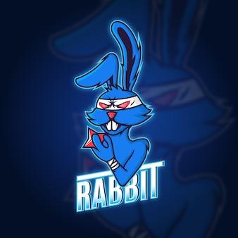 Blauw konijn mascotte bedrijfslogo