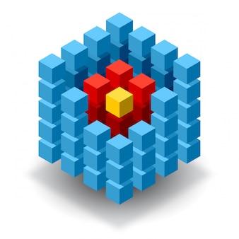 Blauw kubuslogo met rode segmenten