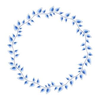 Blauw laat bloemen russisch porselein rond frame met mooi volksornament. illustratie. decoratieve compositie.