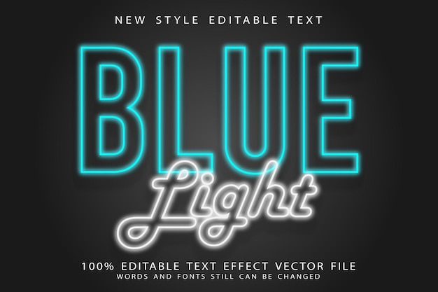 Blauw licht bewerkbaar teksteffect reliëf neonstijl