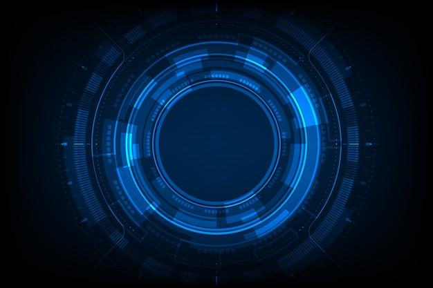 Blauw licht cirkelcentrum cyberspace op donkere achtergrond hud.