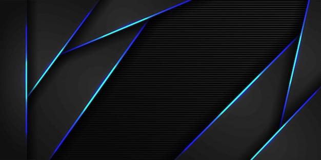 Blauw licht en donker grijs van metalen veelhoek futuristische achtergrond