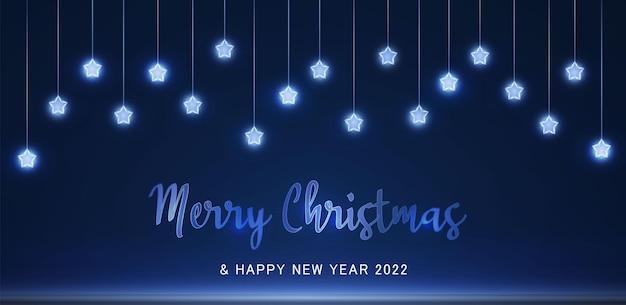 Blauw licht feestelijke slinger met neon stof bokeh overlay op transparante achtergrond 2022