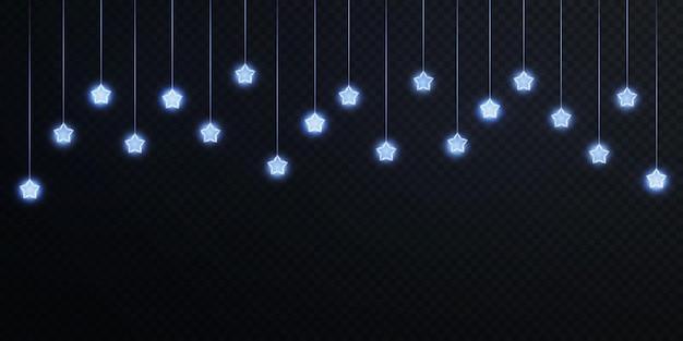 Blauw licht feestelijke slinger met neon stof bokeh overlay op transparante achtergrond