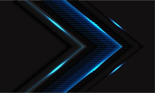 Blauw licht glanzende lijnen textuur pijl richting op zwart met lege ruimte moderne futuristische technologie achtergrond