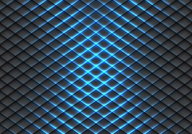 Blauw licht lijn vissenhuidpatroon op donkergrijze achtergrond.