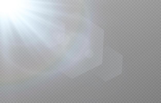Blauw licht met lensfakkels op transparante achtergrond