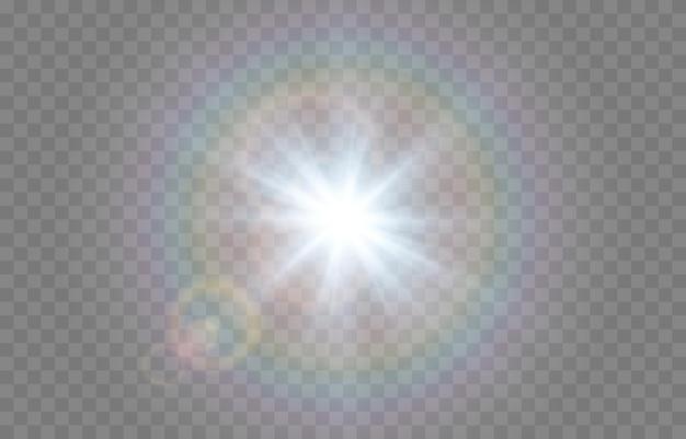 Blauw licht met lensfakkels. zon, zonnestralen, dageraad